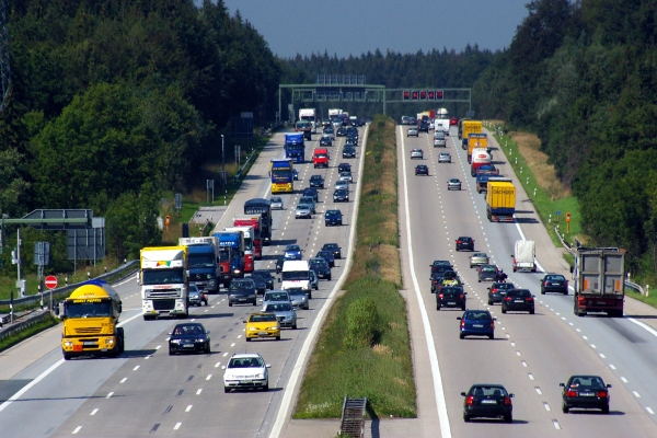 Cars are driving on the six-lane federal motorway